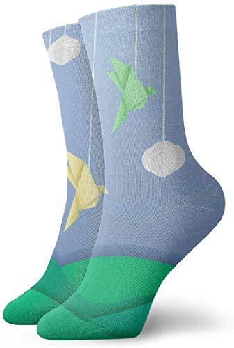 NA Herren-Socken mit Origami-Vogel-Motiv, lustige Polyestersocken