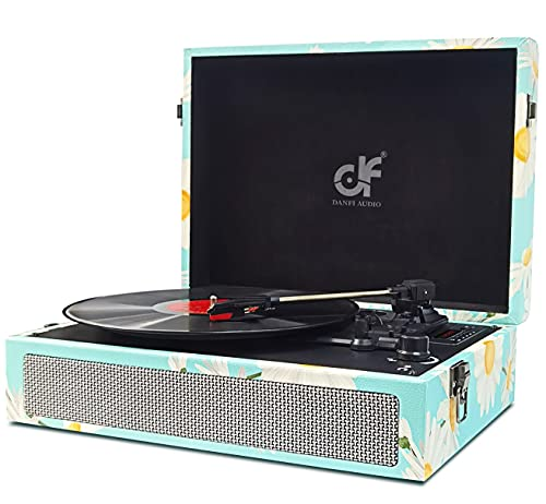 Record Player Bluetooth USB Vinyl Record Player with Built-in Speakers 3-Speed Belt-Driven Vintage Turntable Vinyl Recording Portable LP Vinyl Player Light Blue