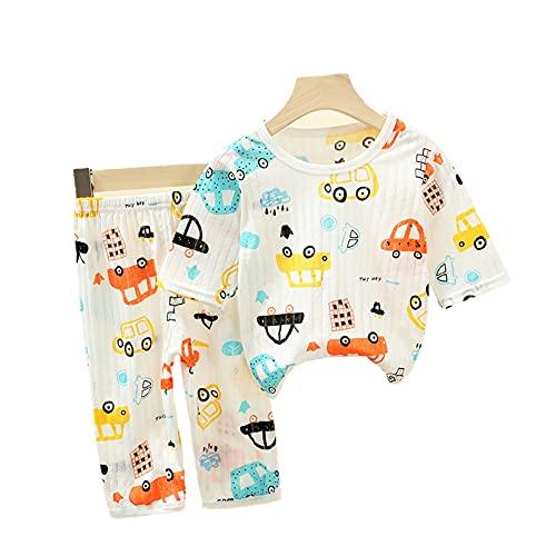CooElc ベビー パジャマ 上下セット 7分袖 半袖 薄手 子供ルームウェア 男の子 女の子 動物柄 部屋着 寝巻 新生児 赤ちゃん 夏用パジャマ 肌着 ナイトウェア 80 車パジャマ
