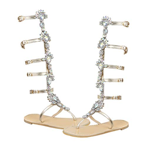 Women's Gladiator Sandals Flat Shoes Toe-Post Sandals Summer Shoes Strappy Sandals Knee High Boots Buckles Gladiator Peep Toe Sandals Beach Shoes Lace Up Casual Trousers