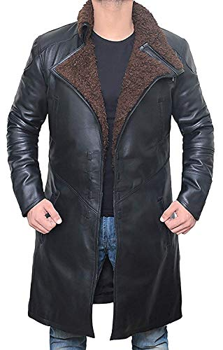 Black Shearling Winter Leather Trench Coat Mens Jacket | [1600337] Blade PU, XXXL