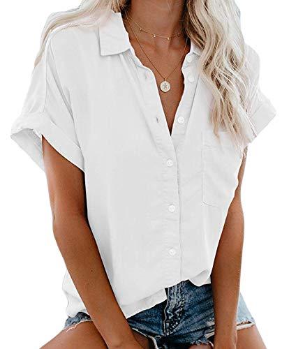 MallFancy Damen Bluse Kurzarm Reverskragen Shirt Sommer Hemdbluse Einfarbig Knopfleiste Blusen Oberteile Tops mit Taschen(Weiss,L)