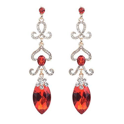 ZRDMN oorknopjes dangler oordrop sieraden voor vrouwen Europese en Amerikaanse mode Bloemen met boorwater te druppelen lange rode sieraden oorbellen