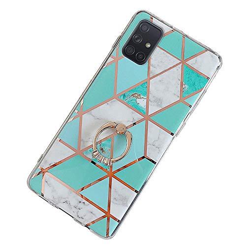 Herbests Kompatibel mit Samsung Galaxy A51 Hülle Bunt Marmor Muster TPU Silikon Handyhülle Glänzend Bling Glitzer Diamant Strass Ring Halter Ständer Crystal Case Tasche Schutzhülle,Grün