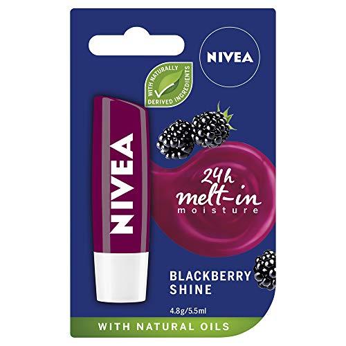 NIVEA Lip Balm Blackberry Shine (4.8g), Moisturising Lip Balm Enriched with Natural Oils, Lipcare for 24-Hour Hydration
