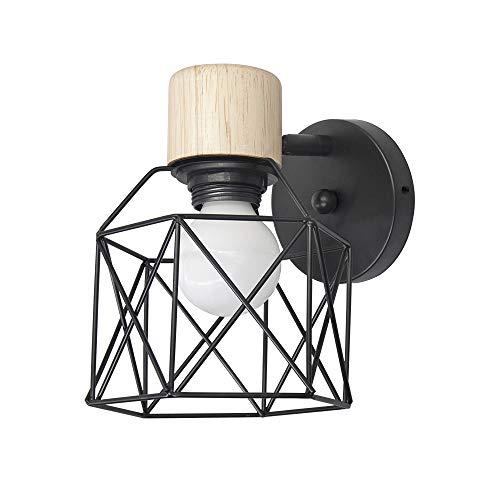 Lámpara de pared industrial negra, iluminación de pared de jaula de metal vintage, lámpara de pared con apliques ajustables retro E27, accesorio de interior