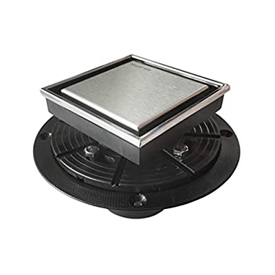 Neodrain ZP1 Square Shower Drain,4 inch Stainless Steel 304 grate and ABS drain body, Tile-insert grate with stainless steel frame, Kit includes Hair Trap/Strainer,lifting hook and PVC drain base