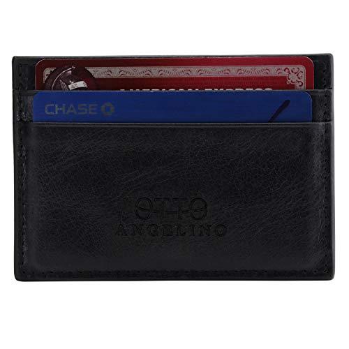 Otto Angelino Dunne Echt Lederen Kaarthouder Portemonnee voor Mannen - een Aantal Slots voor Credit, Debet-, Bank en Visitekaartjes, Geld en Rijbewijs - RFID Protection (Rustic Black)