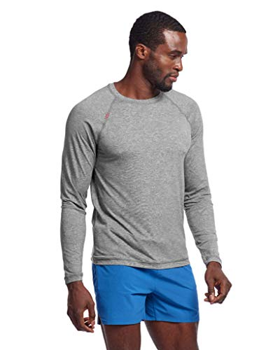 Rhone Men's Reign Long Sleeve Legacy Gray X-Large, Athletic Moisture Wicking Anti-Odor Workout Shirts