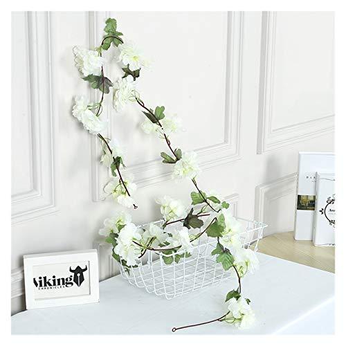 ZHNA-Cerca de Plantas Artificiales 230 cm Flores Artificiales Decoración Sakura Cherry Blossoms Vine Lvy para Boda Home Jardín Decoración Seda Flor Ratán (Color : White)