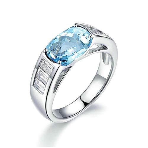 Beydodo Anillos Mujer Plata de Ley,Anillos Plata Compromiso Mujer Azul Plata Rectangular 9X11MM Topacio Azul Blanco Anillo Talla 18,5