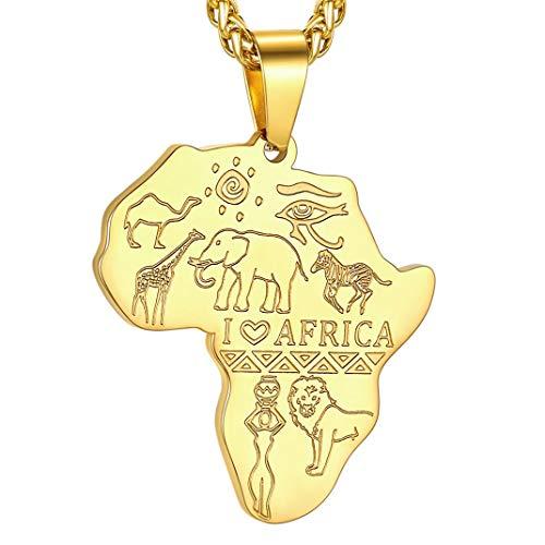 GoldChic Jewelry Mapa de Africa Ojo de Horus Colgante Personalizado con Cadena Acero Inoxidable 55cm Extensible Regalo para Hombre Mujer Color Platino/Negro/Oro