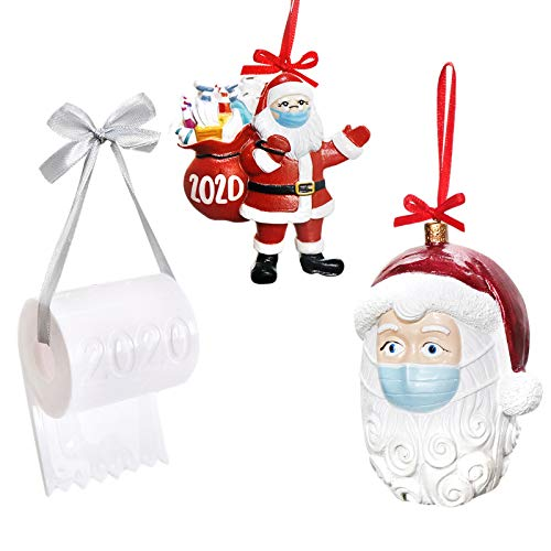FOYUEE 2020 Christmas Ornaments Set Covid Santa Claus with Face Masks and Toilet Paper Xmas Tree Decoration Hanging Gift Red 3 Pcs