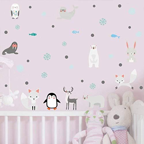 TIVOPA Dessin Animé Animaux Arctique Pingouin Lion De Mer Autocollant Mural pour Chambre des Enfants Pépinière Mur Art Décor Mignon Dolphin Fox DIY Stickers Décor À La Maison