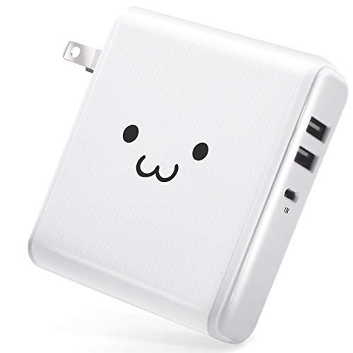 エレコム モバイルバッテリー ACアダプター 大容量 コンセント 6700mAh USB×2ポート 最大2.6A出力 [iPhone&iPad&andorid 対応] ホワイトフェイス EC-M02WF