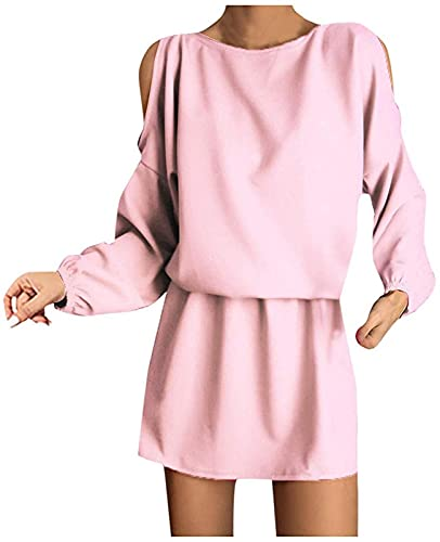 Vestido casual de manga larga con hombros descubiertos para mujer, estilo túnica suelta, camiseta