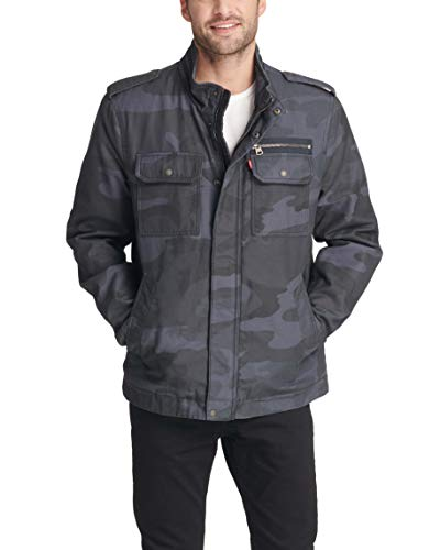 Levi's Men's Washed Cotton Two Pocket Military Jacket (Standard and Big & Tall), Navy Camouflage, Medium