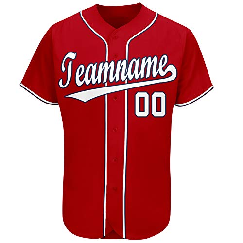 Aitrony Custom Team Baseball Jersey Personalized Full Button Shirts Printed & Stitched Name&Numbers for Men S White