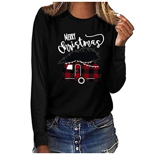 TEBAISE Weihnachtspullover Damen Weihnachtsmotiv Gedruckt Rundkragen Xmas Pullover Frauen Weihnachten Langarm Sweatshirt 2019 Ugly Lustig Christmas Jumper Party Langarmshirt