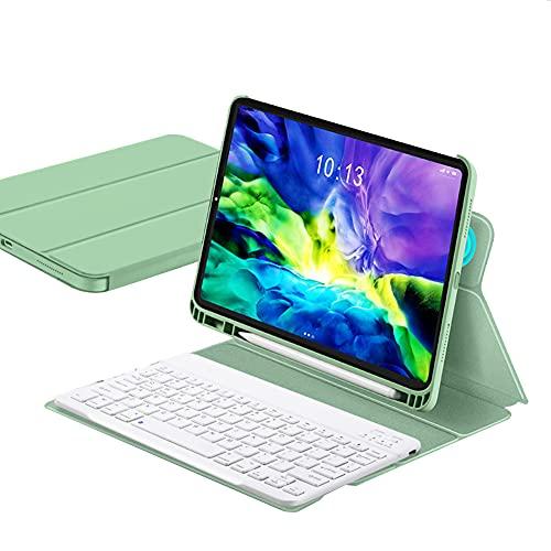 ktong Estuche con Teclado para iPad 2020 8 10.2', Estuche Desmontable para Teclado inalámbrico con portalápices, Cubierta Protectora Delgada para Tableta,Verde