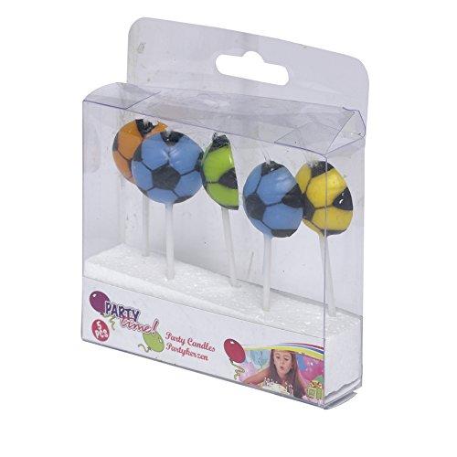 les colis noirs lcn Lot de 5 Bougies Ballon de Football Coloré - Gateau Anniversaire Décoration - 246