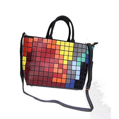 Bloc De Couleur Cube Réseau Arc En Ciel Sac De Messager Sac à Main,Multi-colored-M
