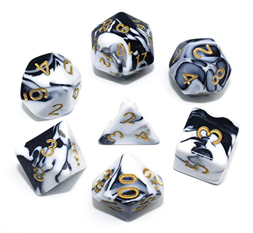 HD DND Dice Set Black & White Marble RPG Polyhedral Dice Fit Dungeons and Dragons(D&D) Pathfinder MTG Tabletop Role Playing Game 7-Die Dice Set
