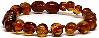 Cavigliera in vera ambra baltica, colore cognac, dimensioni 14-25 cm, con perline annodate