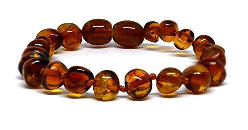 Pulseras de ámbar báltico auténtico, cuentas anudadas, tamaños 14-25 cm, color coñac (14)