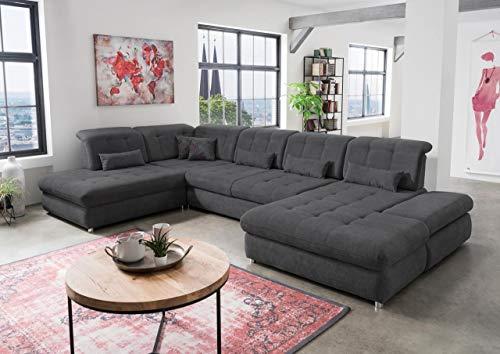 lifestyle4living Wohnlandschaft (XXL) mit Schlaffunktion & Bettkasten, Grau, Microfaser | Gemütliches U-Sofa mit Kopfstützen- & Armlehnen- & Sitztiefenverstellung