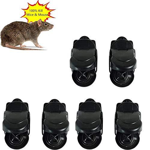 WENTS Trampas para Ratones 6 Pieza Trampas para Ratas Reutilizable Trampas para Ratones Alta sensibilidad Respuesta rápida Seguro Efectivo ratonera de plástico para Interiores y Exteriores