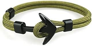 Pulsera de Ancla Para Hombre en Cordón Color Verde Militar