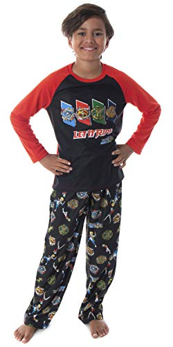 Beyblade Burst Boys' Spinner Tops Fafnir Let It Rip! 2 Piece Shirt And Pants Kids Pajama Set (LG, 10/12)