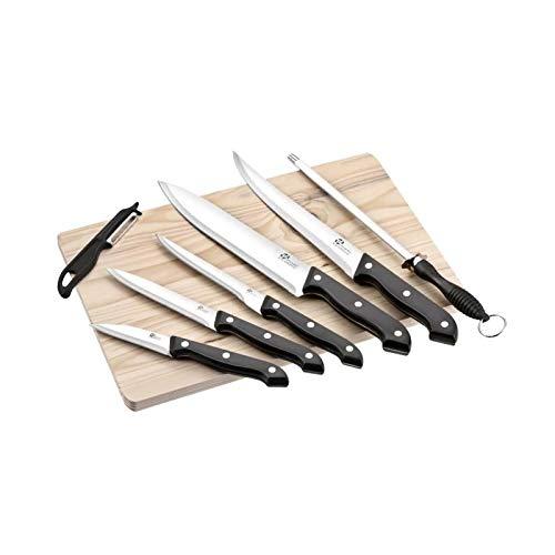 Pradel Excellence 8 teiliges Set mit Holzgriff, 5 Messer 1 Wetzstahl Code 70790650 Gemüseschäler