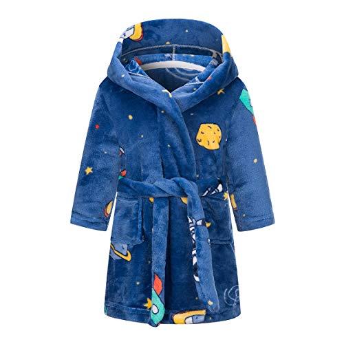 YOLIA Kinder Roben Jungen Mädchen Cartoon mit Kapuze Bademäntel Plüsch Nachtwäsche Pyjamas