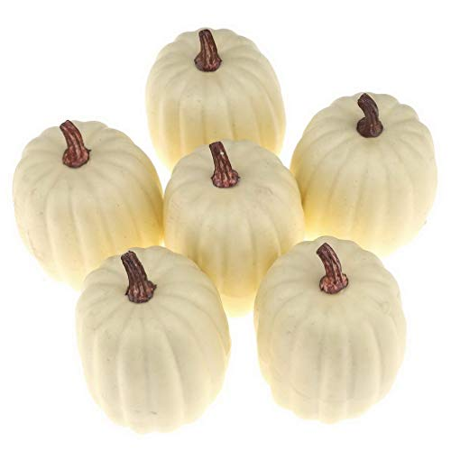 Woration High-Grade Fake Pumpkins Sets Artificial Milk White Pumpkin Decoration for Fall Harvest Halloween Thanksgiving Party Decorating - 6 pcs