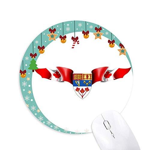 Kanada Flag National Emblem Mouse Pad Jingling Bell Round Rubber Mat