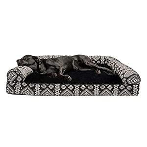 Furhaven Pet Dog Bed – Orthopedic Plush Kilim Southwest Home Decor Traditional Sofa-Style Living Room Couch Pet Bed with Removable Cover for Dogs and Cats, Black Medallion, Jumbo Plus