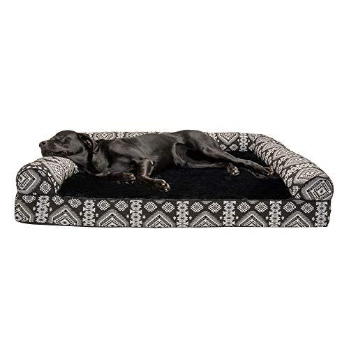 Furhaven – Orthopädisches Sofa Stil Traditionelle Wohnzimmer Couch Hundebett – erhältlich in mehreren Farben und Stilen, orthopädischer Schaum, Jumbo Plus, Medaillon Kilim Schwarz