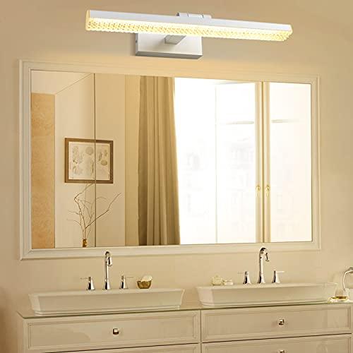 Wowatt Aplique Espejo Baño LED 9W Lámpara de Pared Espejo Blanca Cálida 3000K 720LM 220V 40cm Luz de Espejo Orientable Para Mueble de Maquillaje Lavabo Armario Restaurante Dormitorio Estudio Hotel