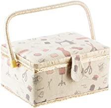 Etienne Alair EA-SMC115 Vintage Basket with Accessories Bonus Travel Kit Filled with Scissor, Thimble, Thread, Sewing Needles, Tape Measure and More, Beige/tan