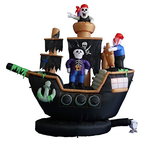 BZB Goods 7 Foot Halloween Inflatable Skeletons Ghosts on Pirate Ship Lights Decor Outdoor Indoor Holiday Decorations, Blow up Lighted Yard Decor, Lawn Inflatables Home Family Outside