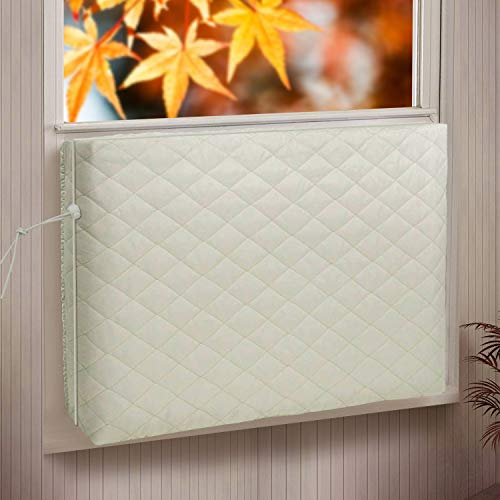 Indoor Air Conditioner Cover for Window Units, Window AC Unit Cover for Inside, Double Insulation with Elastic Strap, XS Beige 17 x 13 x 3 inches (L x H x D)