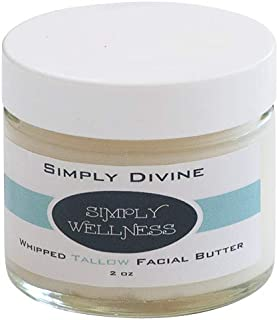 Simply DIVINE Whipped Tallow Facial Butter w/CoQ10 (2 oz glass jar) - 100% Grass fed - 100% Natural & Organic = for Dry Irritated Skin, Itch Relief, Rosacea, Eczema, Dermatitis, and more.