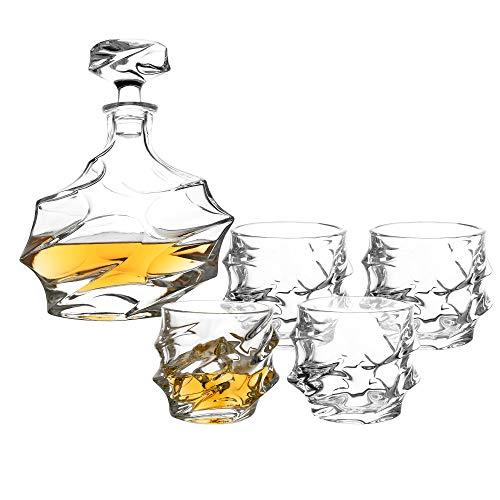 5-tlg Whisky-Set Karaffe Trinkgläser - Geschenk-Set aus Bleifreien Glas - Whiskey Dekanter 750ml mit 4 Whiskygläser 330ml für Rum, Scotch, Cognac - Männer Geschenk - ohne Geschenkverpackung