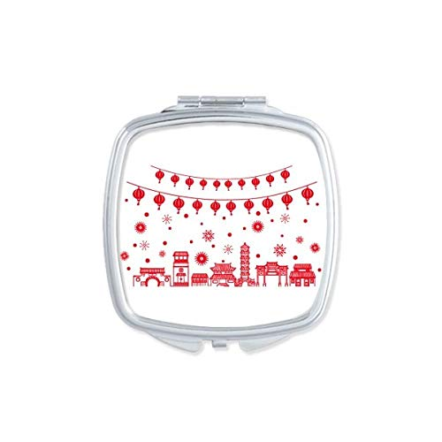 Lantaarn Rood Chinees Papier Snijpatroon Vierkant Compact Make-up Spiegel Draagbare Leuke Hand Pocket Spiegels Gift