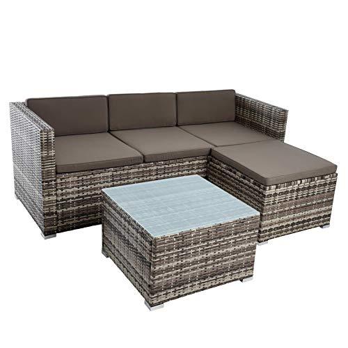 IHD Rattan Lounge Sitzgruppe Polyrattan Gartenmöbel Set Couch 3-Sitzer Rattanmöbel Sofa Set Essgruppe Gartenset Balkon-Set (Beige-Braun)