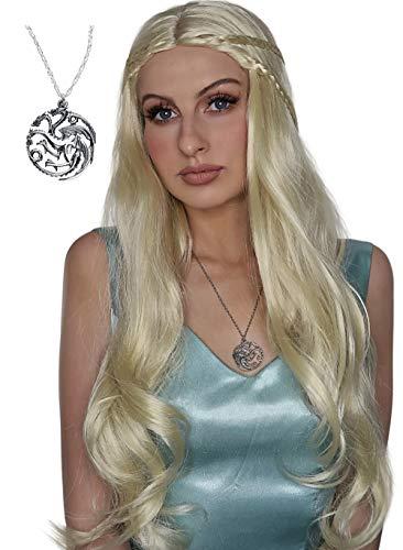 Daenerys Wig + Dragon Pendant + Cap Khaleesi Game of Thrones Costume Wigs Cosplay