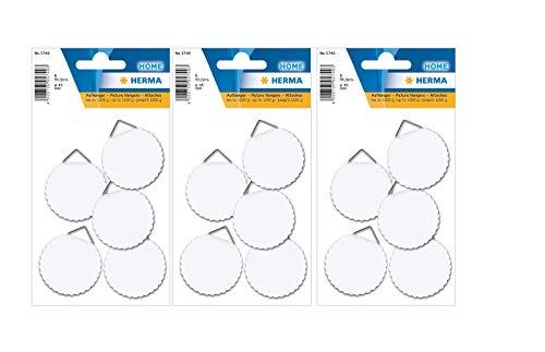 HERMA 5749 Bildaufhänger zum kleben, groß (Ø 45 mm, Papier mit Leinenstruktur) selbstklebend, wasserlöslich gummiert, Tragkraft 1.200 g, weiß (18 Haken - Ø 45 mm)