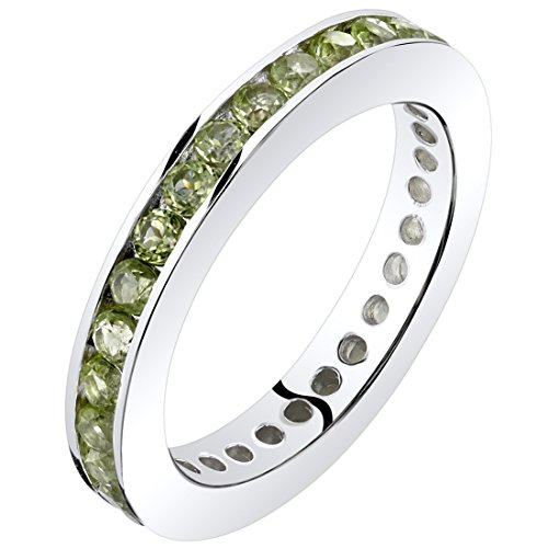 Peridot Eternity Band Ring Sterling Silver 1.00 Carats Size 6